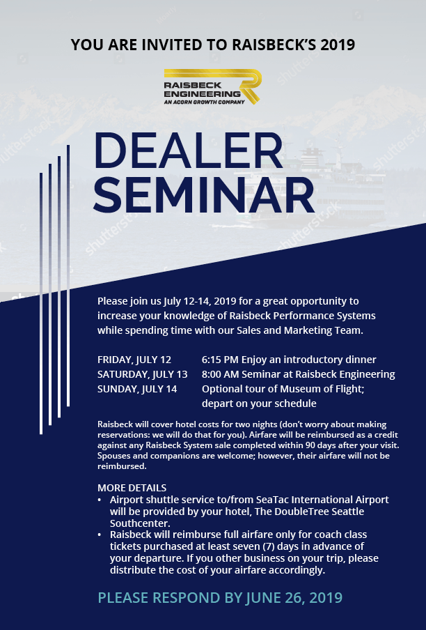 Raisbeck Engineering Dealer Seminar Invitation